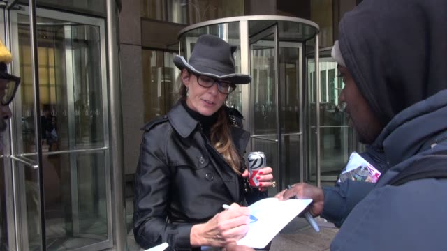 Allison Janney greets fans while departing SiriusXM Satellite Radio on March 31 2014 in New York City