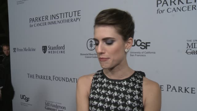 interview allison williams on the event at sean parker and the parker foundation celebrate the launch of the parker institute for cancer... - allison parker stock-videos und b-roll-filmmaterial