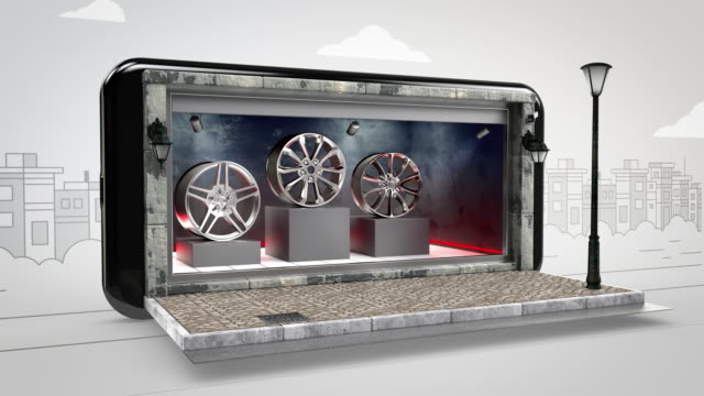 alloy wheels online shopping - alpha channel - 4k resolution - display cabinet stock videos & royalty-free footage