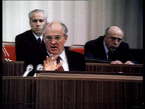 all-union congress of people's deputies . gorbachev's speech ifro parliament, debate... - 1989 stock videos & royalty-free footage