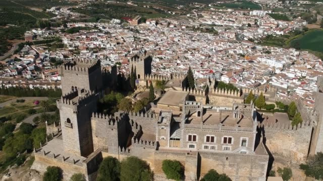 almodóvar castle drone video - castle wall stock videos and b-roll footage
