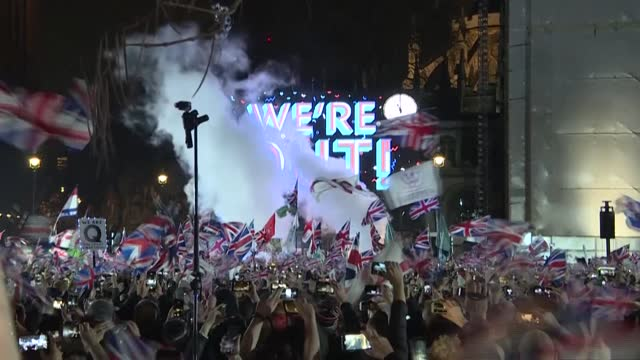 almost one year ago, brexit supporters celebrated in parliament square in london as the uk officially left the eu and began a year-long transition... - celebration stock videos & royalty-free footage