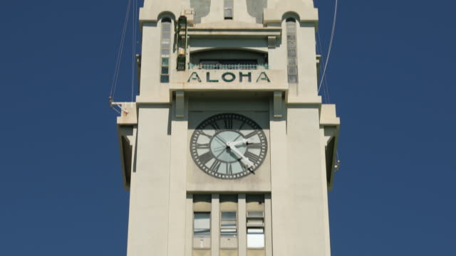 aloha tower in downtown honolulu hawaii - clock tower stock videos & royalty-free footage