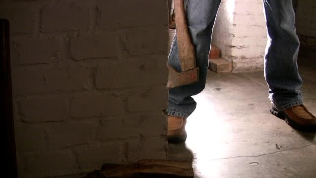 stockvideo's en b-roll-footage met alone in the cellar/basement... - bijl