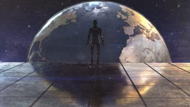 未来的な空間で一人の女性宇宙飛行士 地球の眺め - 絶滅点の映像素材/bロール