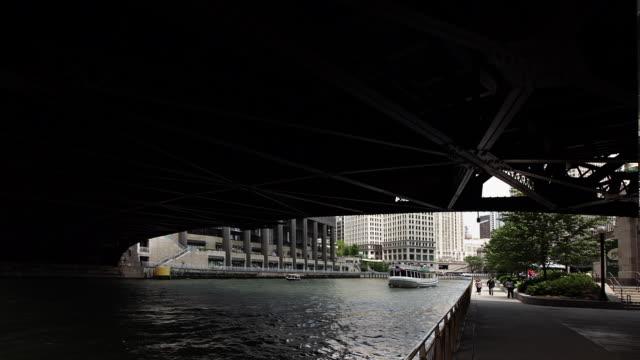 hyperlapse along chicago river - michigan avenue bridge stock videos and b-roll footage