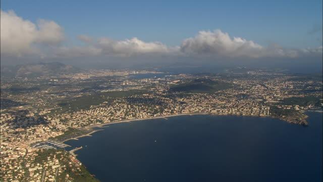 vídeos y material grabado en eventos de stock de aerial along coast to sanary-sur-mer/ var, france - península