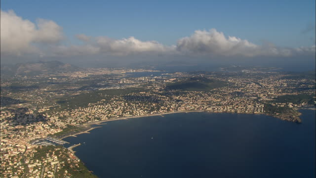 aerial along coast to sanary-sur-mer/ var, france - var stock videos & royalty-free footage