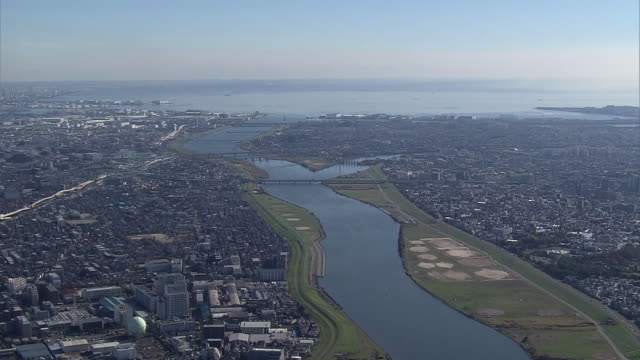 aerial, along edo river, japan - tokyo bay stock videos and b-roll footage