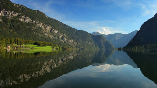 hyperlapse along lake hallstatt 8 - boat point of view stock videos & royalty-free footage
