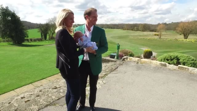 Alongside his wife Nicole British golf champion Danny Willett presents his new son Zachariah to the world who was born days before his victory at...
