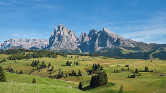 alpe di siusi viewpoint in dolomites, italy,4k time-lapse - dolomites stock videos & royalty-free footage