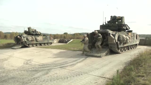 alpha and bravo company, 2-12 cav conducts squad live fire training at the grafenwoehr training area, germany during the multinational training... - alpha cell stock videos & royalty-free footage