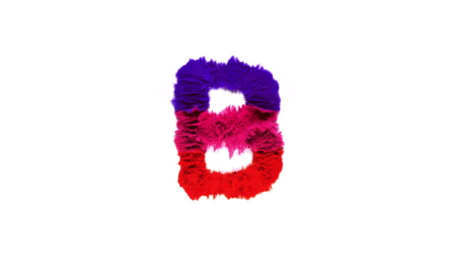 alphabet b created with colorful powder exploding in super slow motion and closeup on white background - colour image stock videos & royalty-free footage