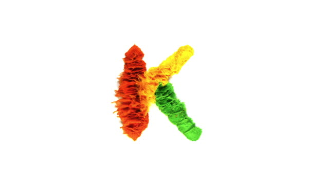 vídeos de stock e filmes b-roll de alphabet k created with colorful powder exploding in super slow motion and closeup on white background - fantasia