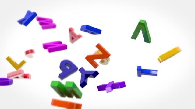 Alfabeto colorido cartas de bucle de fondo (Full HD