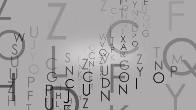 vídeos de stock, filmes e b-roll de alfabeto letras movendo-se para trás, recursos gráficos para a produção de mídia - sopa de letras
