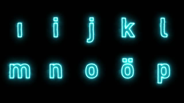 neon alphabet loopable with luma matte - the alphabet stock videos & royalty-free footage