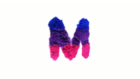 alphabet m created with colorful powder exploding in super slow motion and closeup on white background - capital letter stock videos & royalty-free footage
