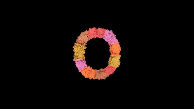 alphabet o created with powder in warm colors exploding towards camera in super slow motion and closeup on black background - colour image stock videos & royalty-free footage