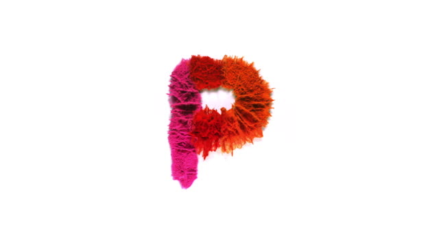 alphabet p created with colorful powder exploding in super slow motion and closeup on white background - capital letter stock videos & royalty-free footage