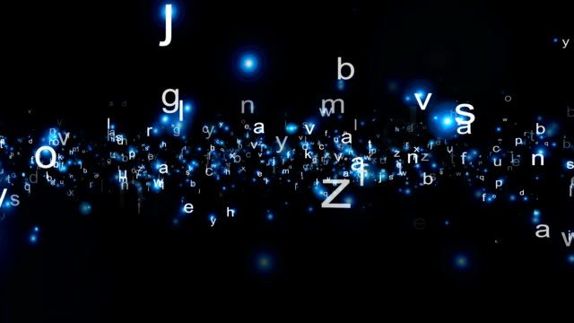 Alphabet particles illuminate and fly against a black screen.