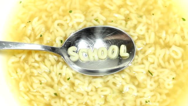 vídeos de stock, filmes e b-roll de sopa de letrinhas-não há dinheiro para a educação - sopa de letras