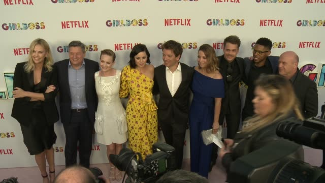 alphonso mcauley, dean norris, johnny simmons, eben russell, charlize theron, ted sarandos, kay cannon, britt robertson and sophia amoruso at the... - arclight cinemas hollywood stock-videos und b-roll-filmmaterial