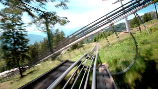 alpine bob ride - overhead cable car stock videos & royalty-free footage