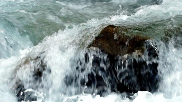 SLO MO Alpine Mountain River Flowing Around Stones Close-up