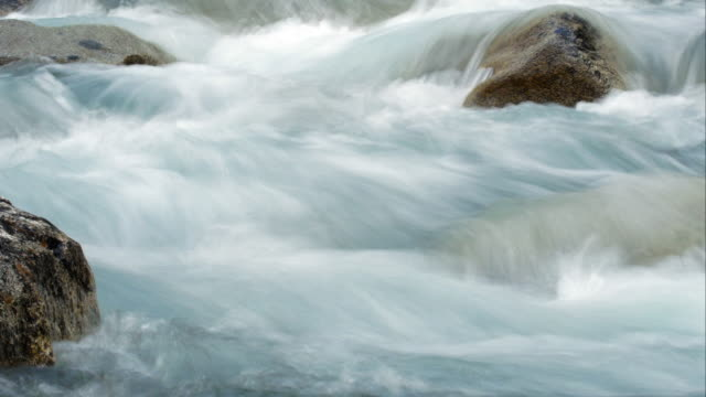 Alpine Mountain River Flowing Around Stones (UHD)