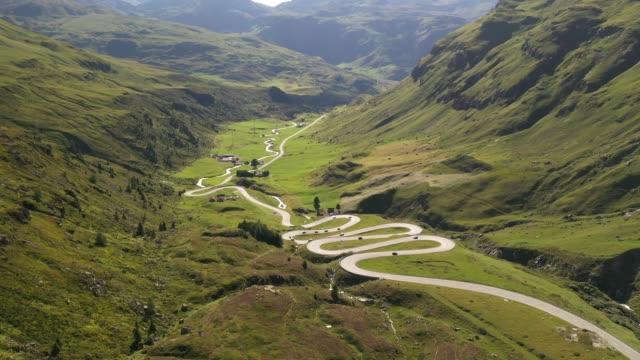 alpine pass road, switzerland, europe - winding road stock-videos und b-roll-filmmaterial