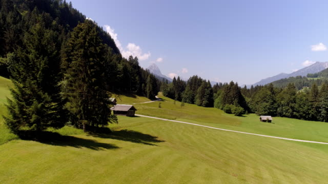 alpine pasture in wetterstein mountain range - bavaria stock videos & royalty-free footage