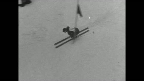 alpine ski racer andrea mead lawrence descends down slalom course at 1952 winter olympics in oslo / lawrence speeds down the 509 yard course, weaving... - bobsledding stock videos & royalty-free footage
