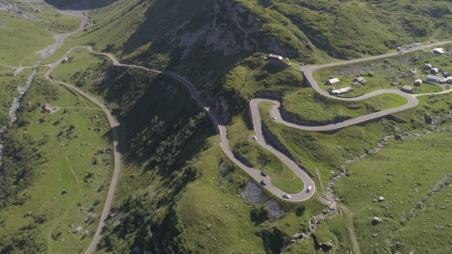 Alpine valley and road, Switzerland