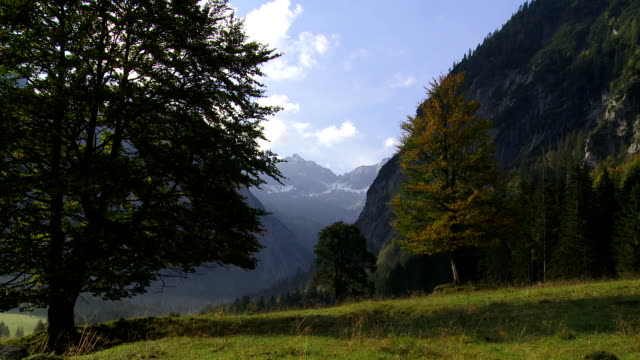 t/l alpine valley in autumn - karwendel mountains stock videos and b-roll footage