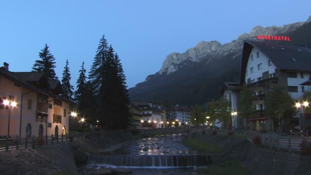 WS, Alpine village at dusk, Moena, Trentino Alto Adige, Dolomites, Alps, Italy