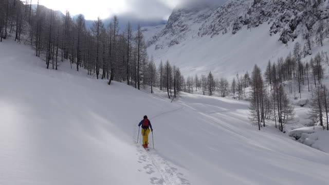 escursioni sugli sci alpinisti da soli in montagna - bastoncino da sci video stock e b–roll