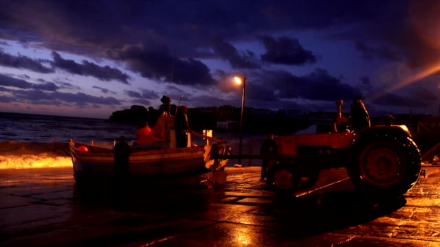 MS Alsatian standing by fishing boats at dusk / Aniston/ Western Cape/ South Africa