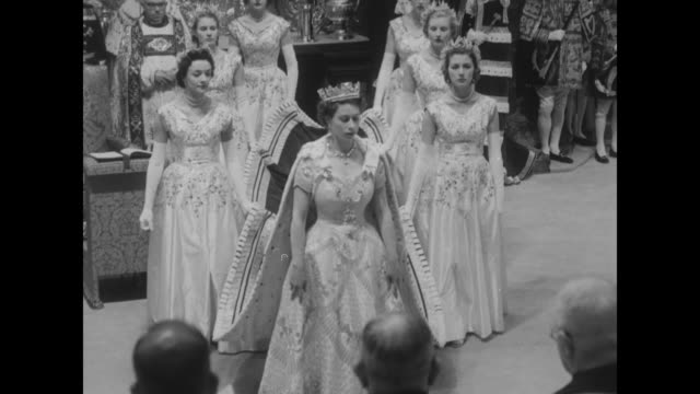 cu altar and crown / elizabeth ii and maids of honor walk around king edward's chair / queen mother elizabeth princess margaret queen mary princess... - coronation of queen elizabeth ii stock videos and b-roll footage