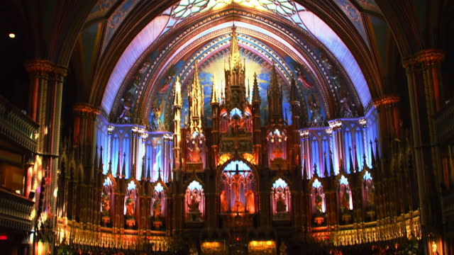 altar at montreal's notre dame basilica catholic basilica church, montreal, quebec, canada - cultures stock videos & royalty-free footage
