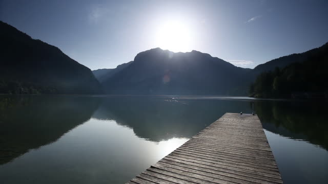 WS Altausseer See lake at sunrise  / Altaussee, Salzkammergut region, Styria, Austria
