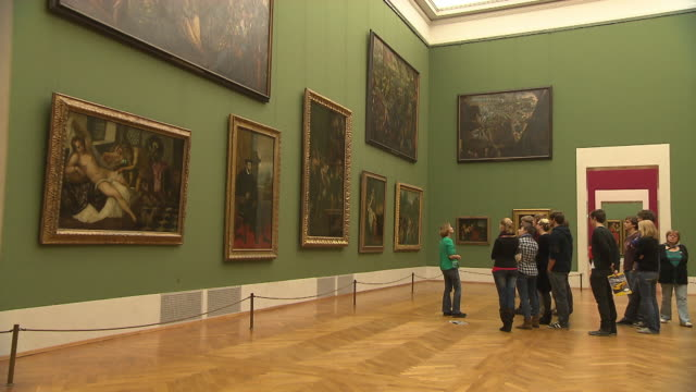 alte pinakothek, indoor, art, people, paintings - museum stock videos & royalty-free footage