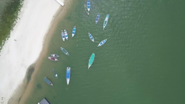 alter do chao beach, overhead shot - riva del fiume video stock e b–roll