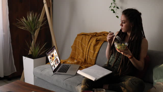 alternative blogger, having an inspirational moment for an article, while working from her cozy home office in the morning - freelance work stock videos & royalty-free footage