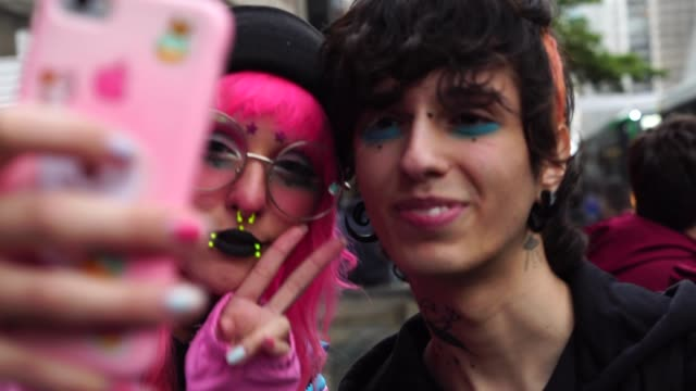 Alternative Lifestyle Young Couple Taking a Selfie