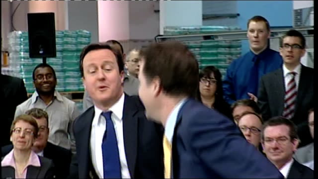 Cameron says AV will not damage coalition govt T24031104 Nottingham Boots INT David Cameron MP and Nick Clegg MP QA session at PM Direct event