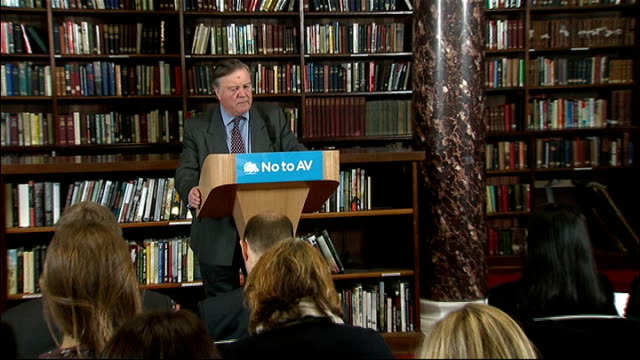 david cameron speech at campaign launch england london whitehall int david cameron mp into room and sits down / kenneth clarke mp along to podium ken... - kenneth clarke stock-videos und b-roll-filmmaterial