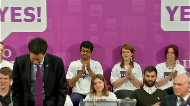 alternative vote referendum: 'yes' campaign: ed miliband, alan johnson, vince cable and eddie izzard speeches; ed miliband speech sot - some labour... - politics and government stock videos & royalty-free footage