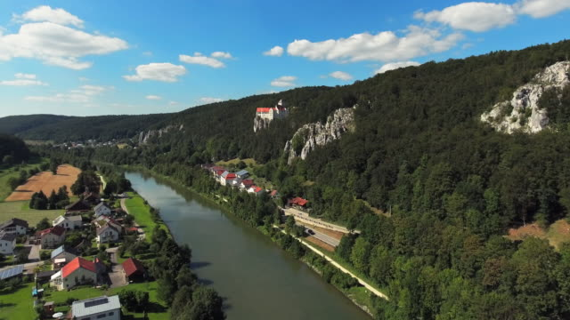 altmuehl valley and prunn castle in bavaria flyover - circa 14th century stock videos & royalty-free footage